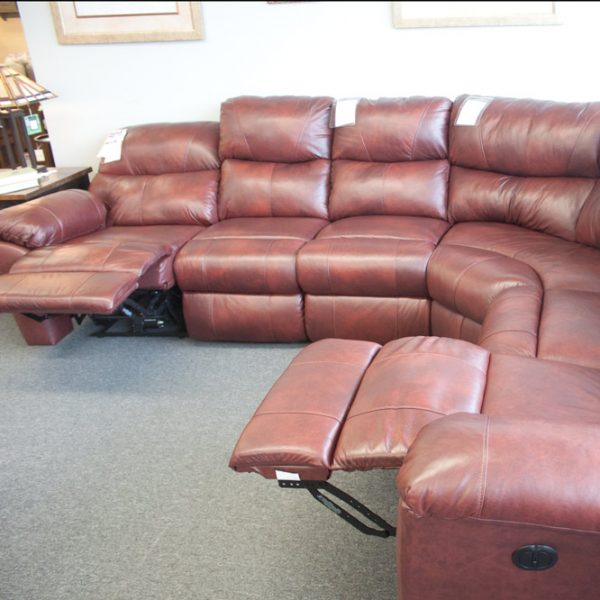 Comfort Plus Top Grain Leather Sectional fully reclined