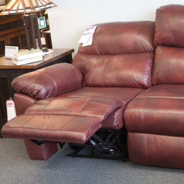 Comfort Plus Top Grain Leather Sectional reclined