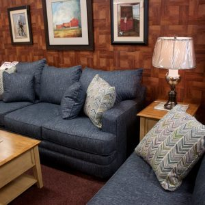 Deep Comfortable Big Blue Living Room Set