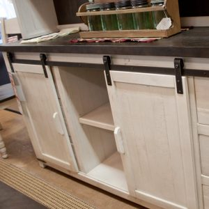 Farmhouse Hutch showing barndoor storage
