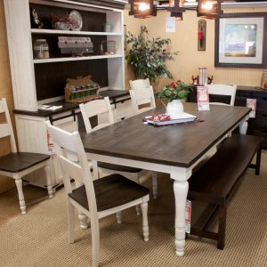 Farmhouse Hutch showing with matching dining set
