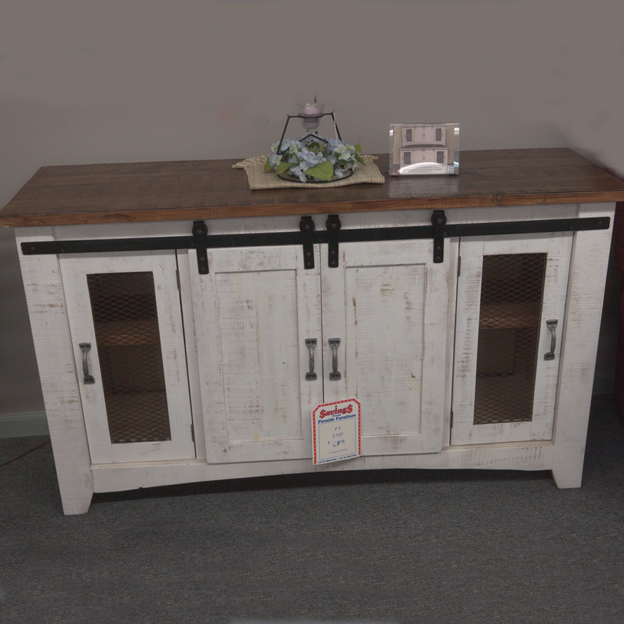 Farmhouse Tv Stand With Fireside Furniture In Pompton