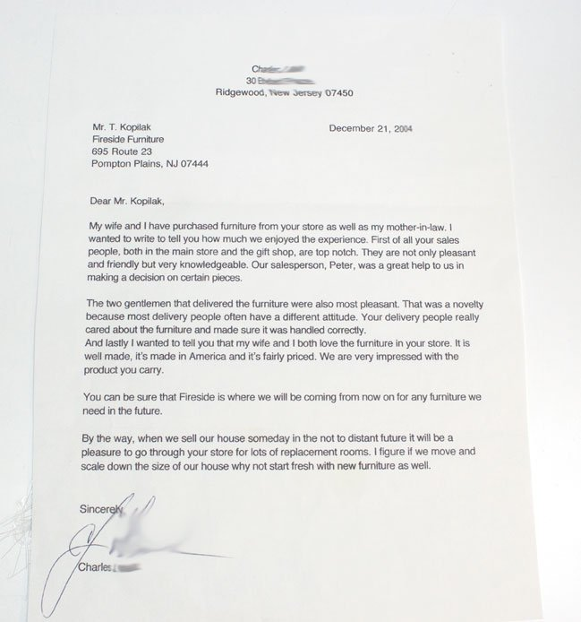 furniture sales testimonial notes My wife and I have purchased furniture  from your store as. Fireside Furniture proud of the furniture sales testimonial notes