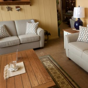 Lifestyle Sofa with loveseat and oak plank table