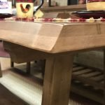 Solid-maple-dining-set showing live-edge