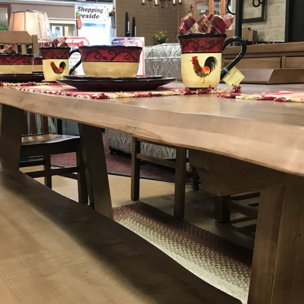 Solid-maple-dining-set-live-edge showing bench