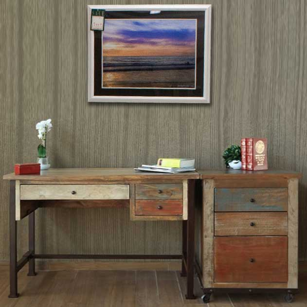 Writing Desk With Reclaimed Wood Hand Rubbed Finish In