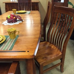 solid maple dining room with ebony inlays, made in america
