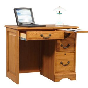 This red oak Flat top desk is a longtime favorite with an antique look and modern features. Made from North American red oak veneer and oak solids; computer not included