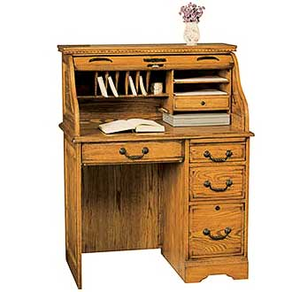 "48"" roll top desk, this traditional collection is made from red oak and red oak veneer"