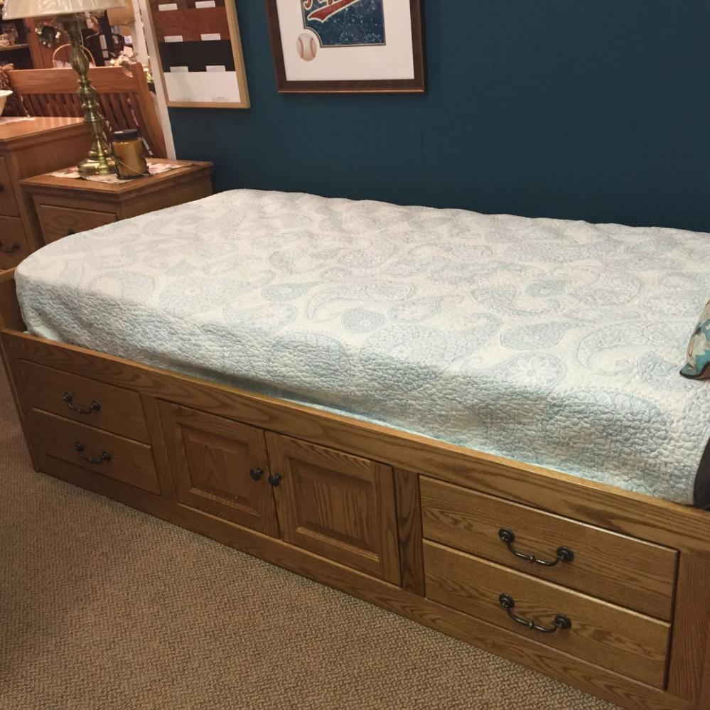 oak storage bed, full extension drawers, made in america