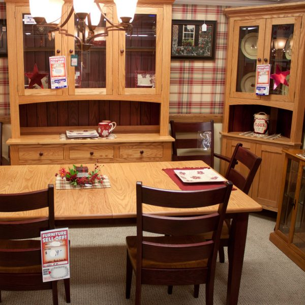 country corner hutch with open well as part of dining room set
