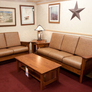 A classic mission styleliving room collection made in USA by Amish craftsmen.