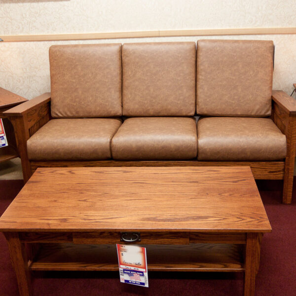 Sofa for A classic mission styleliving room collection made in USA by Amish craftsmen.