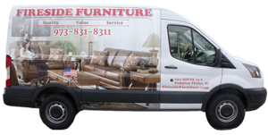 Fireside Furnitures custom wrapped delivery van never carries bedding or used furniture