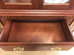 50% off sale price on this solid cherry American Made Canted Corner hutch drawer
