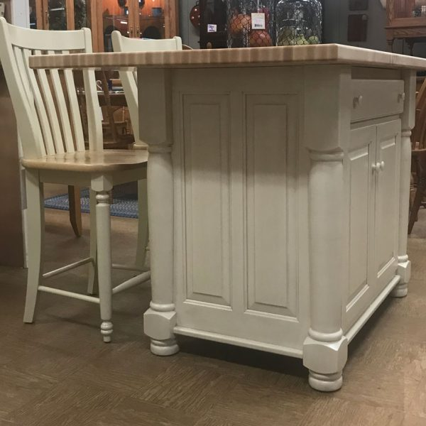 American made with true butcher block top, this kitchen island with seating is a great addition to a full sized kitchen. Available in oak, maple or cherry wood finish