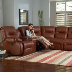 leather reclining sectional, made in USA, sectional
