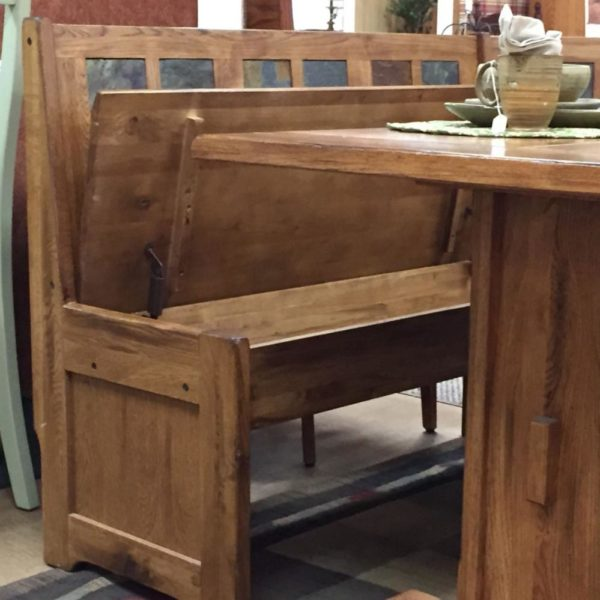 solid oak breakfast nook, storage benches