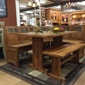 solid oak breakfast nook, storage benches