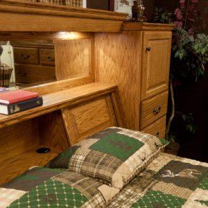 solid wood bedroom set showing headboard detail