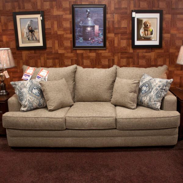 overstuffed sofa for casual comfort