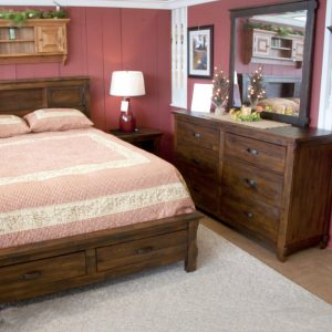 pine with distressed walnut finish bedroom set