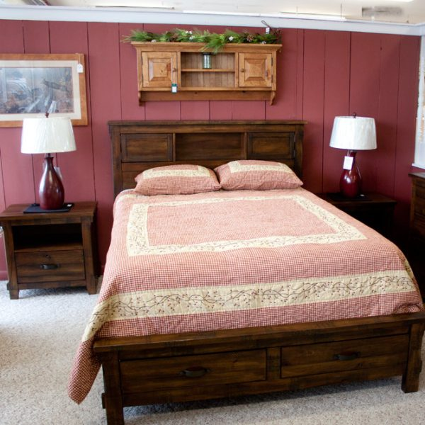 pine with distressed walnut finish bedroom set end table and bed
