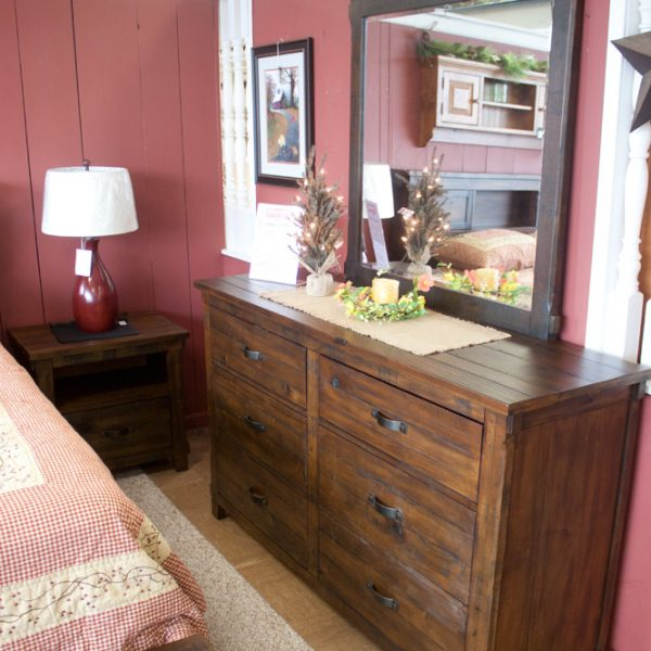 pine with distressed walnut finish bedroom set dresser and mirror