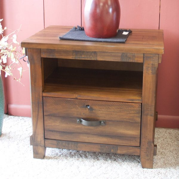 pine with distressed walnut finish bedroom set end table
