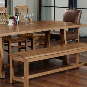 solid maple live edge dining table with wood chairs and wood bench