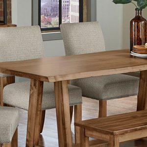 solid maple live edge dining table with upholstered chairs and wood bench