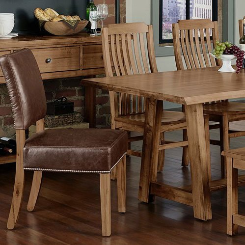 solid maple live edge dining table with leather and wood chairs .
