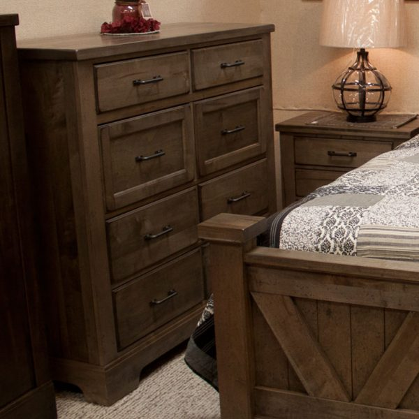 Solid Pine Rustic Bedroom Set dresser and end table photo