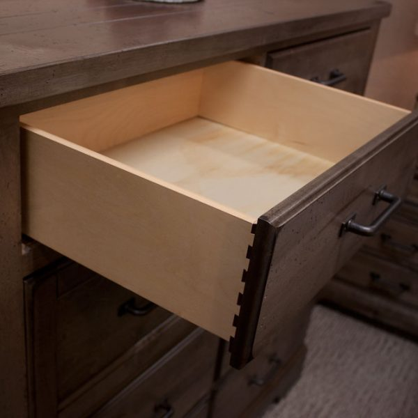Solid Pine Rustic Bedroom Set drawer detail photo