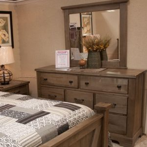 Solid Pine Rustic Bedroom Set bureau and mirror photo