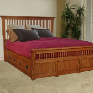 quarter sawn oak storage bed, made in america