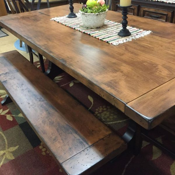 rustic antiqued dining table, made in america
