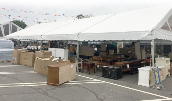 sale & tent-sale-parking-lot - Fireside Furniture