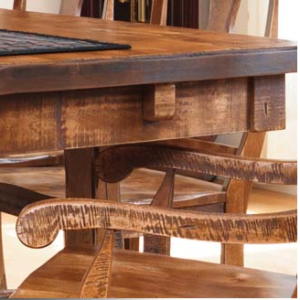 See the detail work on this hand distressed finish Rustic Kitchen Table.