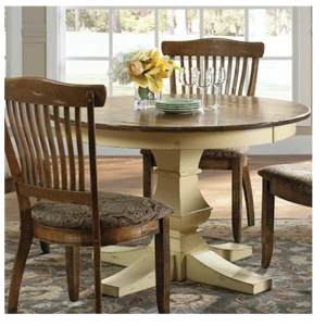This distressed look Round Pedestal Table can be made in your choice of size with chair and case options.